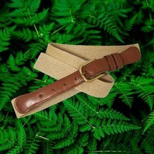 "COACH Natural Linen & British Tan Leather Belt 38"""